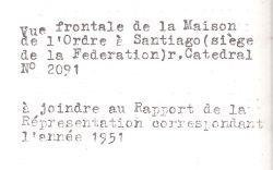 Casa Masónica Le Droit Humain, calle Catedral 2091, Santiago, 1937-1954 - reverso